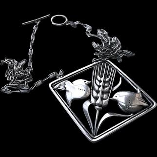 Rare Art Deco Georg Jensen Sterling Silver Double Robin Necklace / Pendant # 93 c1930