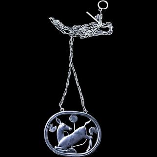 Art Deco Georg Jensen Sterling Silver Deer Necklace / Pendant # 95 c1930