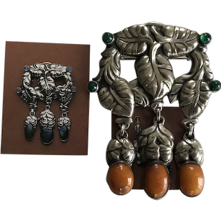 Monumental size Art Nouveau Georg Jensen  Silver Amber and Green Agate Masterbrooch  #  98