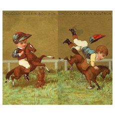 Antique, Victorian, French, gilded, Guérin-Boutron Chocolat collectible trade cards of child steeplechase jockeys
