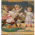 French Au Bon Marché Paris 1900 gilded trade card of toddlers racing rocking horses