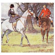 Beautiful, British, equestrian, fox hunting, horse, unused, artist signed Gilbert Wright postcard