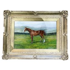 "British school (19th/20th century) oil on board painting of champion steeplechase horse ""The Lowan"""