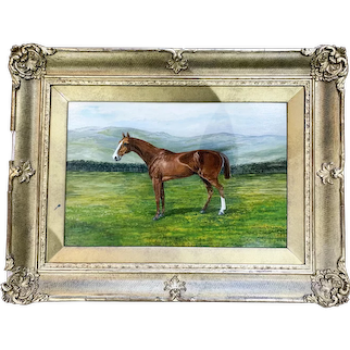 """British school (19th/20th century) oil on board painting of champion steeplechase horse """"The Lowan"""""""