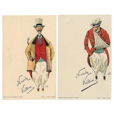 Set of two, unposted, undivided back, artist signed humorous foxhunter postcards