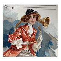 Fox hunter, glamour woman, unposted, artist signed French postcard