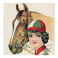 Italian, unposted, postcard of glamour woman in racing silks with horse
