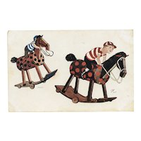 "Unposted, undivided back, artist signed ""N"" postcard of boy jockeys on hobby horses"