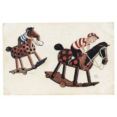 "Unposted, undivided back, artist signed ""N"" postcard of boy jockeys on hobby horses"