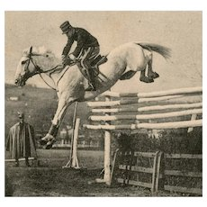 Italian, real photo postcard of military officer jumping 7 foot oxer posted 1914