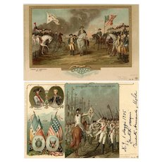 "Pair of antique, gilded ""Private Mailing Card"" postcards Revolutionary War"