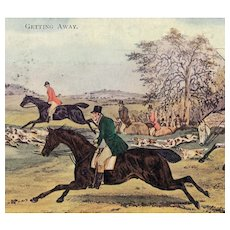 British, equestrian, fox hunting, horse postcard posted 1906