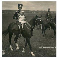 Unposted, German, real photo postcard of Prince Wilhelm & Prince Louis Ferdinand on horseback