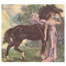 Unposted, Italian, artist signed Corbella Postcard glamour woman with horse
