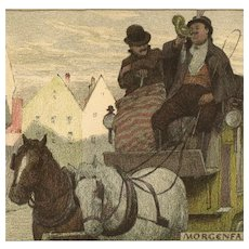 Unposted, undivided back, German postcard of cart and horses