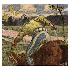 Undivided back, artist signed postcard of a knight on horseback mailed to Countess