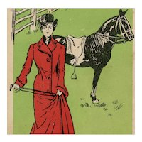 Art Nouveau, British, artist signed postcard of glamour woman in riding clothes