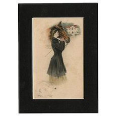 Framed to reveal both sides, M M Vienne, artist signed Underwood postcard glamour woman & horse