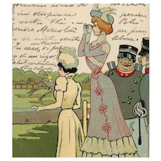 Undivided back, Art Nouveau postcard mailed to Contessa of glamour woman watching horse race
