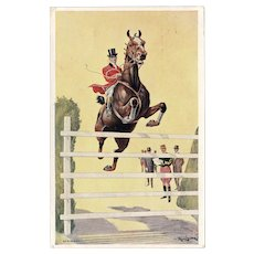 British, artist signed Cleaver postcard of horse jumping from 1907 International Horse Show