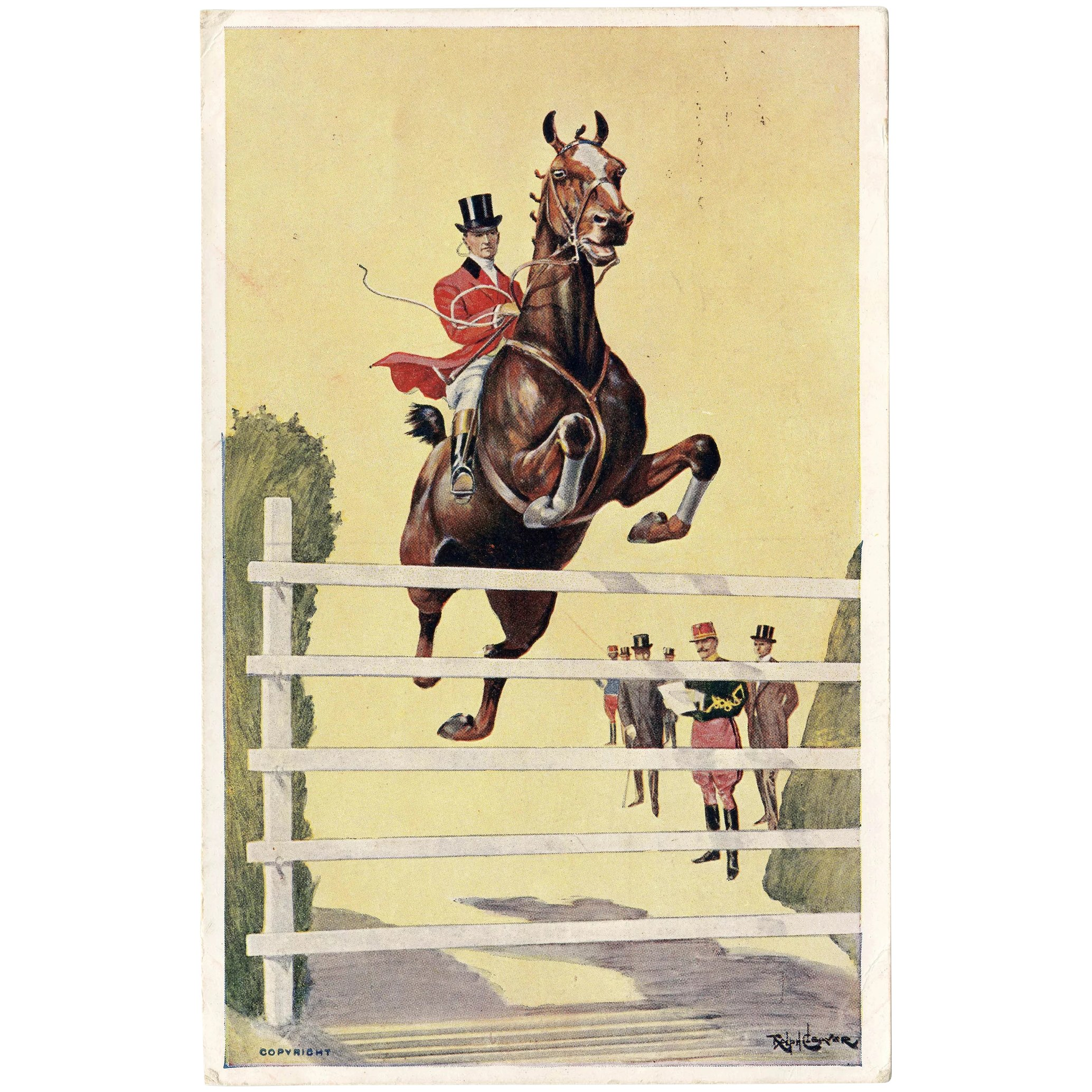 British Artist Signed Cleaver Postcard Of Horse Jumping From 1907 Les Beaux Chevaux Ruby Lane