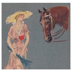 Unposted, Italian, artist signed Bianchi postcard of glamour woman and horse