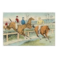 Undivided back, unposted, German postcard of steeplechase