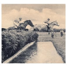 Unposted, real photo postcard of Belmont steeplechase horses