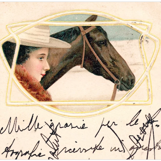 Art Nouveau, undivided back postcard glamour woman and horse mailed in 1902