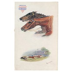Unposted, artist signed N. Drummond Tuck Oilette with YMCA overprint horse racing postcard