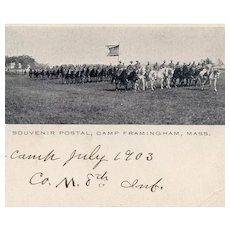 Undivided back, unposted, real photo postcard of mounted 8th Infantry marked 1903