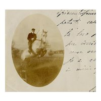 Italian, undivided back, real photo postcard of horse jumping mailed to Contessa in Venice