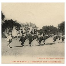 French, real photo postcard dressage horses airs above the ground Saumur 1907