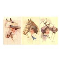 Set of three Italian, unposted, artist signed Terzi postcards glamour women and horses