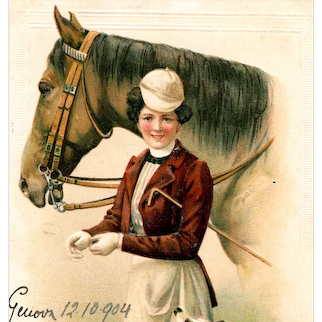 Undivided back postcard of glamour woman and horse posted in 1904 with Italian stamp