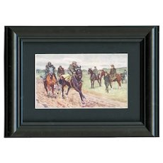Framed to reveal both size, unposted, Austrian, artist signed Koch postcard racehorses breezing