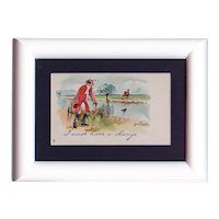 Framed to reveal both sides, unposted, British, artist signed Thackeray horse postcard