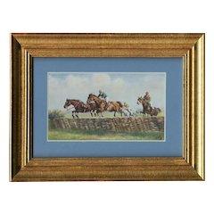Framed to reveal both sides, British, unposted, Tuck Oilette postcard of horses steeplechasing