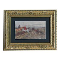 Framed to reveal both sides, unposted, artist signed horse fox hunting postcard M M Vienne