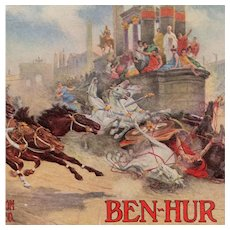 Ben-Hur advertising postcard of chariot race