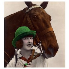 Hand colored, real photo postcard woman and horse