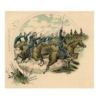 Unposted, Undivided back, Italian cavalry postcard