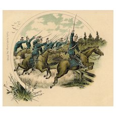 Unposted, Undivided back, Italian cavalry postcard