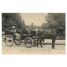 French, real photo postcard of early female taxi horse and carriage drivers