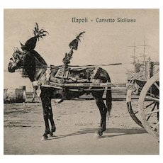 Unposted, Italian, real photo postcard of a horse pulling a Sicilian cart