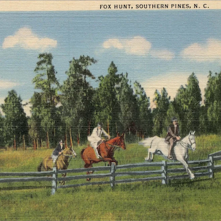Real photo linen postcard of Southern Pines NC Fox Hunt mailed 1942