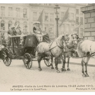 Unposted, Belgian 1910 postcard of horses and carriage