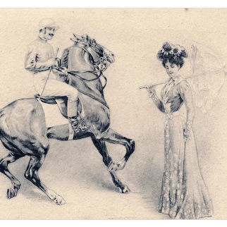 French, undivided back, unposted postcard of a handsome rider noticing a glamorous woman