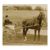 Unposted, real photo postcard of man driving horse and wagon