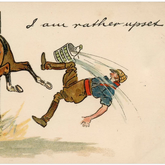 Unposted, antique, undivided back, British, artist signed, funny Thackeray horse postcard published by Tuck